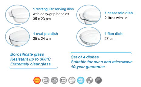 1 rectangular serving dish with easy-grip handles 35 x 23 cm. 1 casserole dish 2 litres with lid. 1 oval pie dish 35 x 24 cm. 1 flan dish 27 cm. Borosilicate glass. Resistant up to 300ºC. Extremely clear glass. Set of 4 dishes. Suitable for oven and microwave. 10-year guarantee.