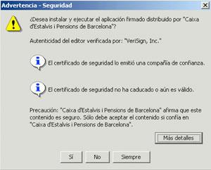 Instalaci n de un certificado de seguridad distribuido por for Localizador de oficinas la caixa