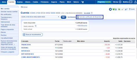 Certificado De Saldo Y Rendimientos Caixabank
